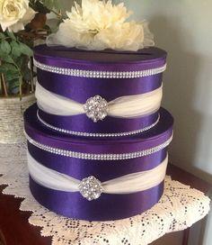 Wedding card box by Thatssolovely on Etsy Satin Violet, Purple Satin, Card Box Wedding, Wedding Gifts, Wedding Ideas, Diy Wedding, Wedding Planning, Dream Wedding, Wedding Decorations