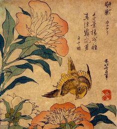 peony and canary... Hokusai