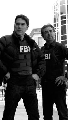 Aaron Hotchner   Thomas Gibson with David Rossi   Joe Mantegna   on Set of Criminal Minds