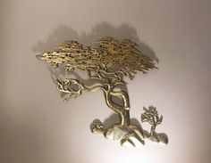 Mid-Century Brass Cypress Tree Wall Sculpture - Brass Bonsai Tree Wall Hanging by VintageVybe on Etsy