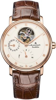 Blancpain Villeret Tourbillon 8 Day Power Reserve $90,160 #Blancpain #watch #watches #luxury #chronograph rose gold case with crocodile skin bracelet and automatic movement