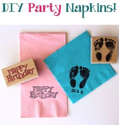 DIY Party Napkins! ~ from TheFrugalGirls.com {this is such an easy trick for customizing party napkins!} #party #napkins #babyshowers