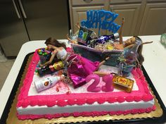 21st birthday drunk Barbie cake #21 #drunkbarbie