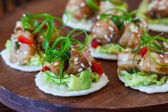 International Recipes - Foods and Drinks: Wasabi Shrimp with Avocado on Rice Cracker
