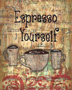 Espresso Yourself  Three Coffee cups in an 8 x by CarmenWDesigns