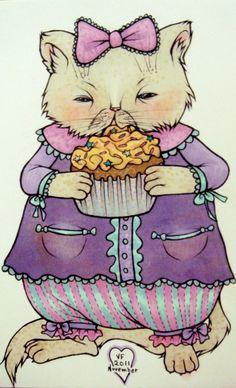 Happy Birthday Cat eating Cupcake