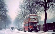 A classic British landscape in wintertime. London Winter, Double Decker Bus, London Bus, My Cup Of Tea, Its Cold Outside, Winter Time, Winter Wonderland, Classic Style, England