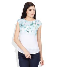 AND White Boat Neck Top