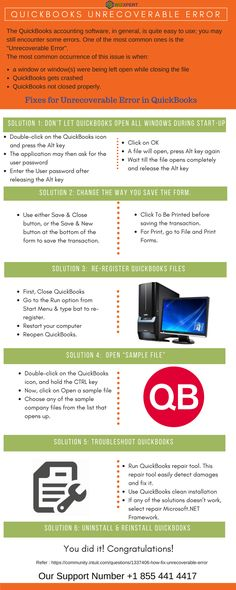 17 best QuickBoooks Infographics images on Pinterest Accounting - Quickbooks Unrecoverable Error