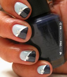 So cool! - Blue Diagonal Manicure with crystals | CHECK OUT MORE NON TRADITIONAL…