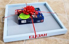 Lego Tray - I think this is the most brilliant gift for any boy! Will have to make some of these!