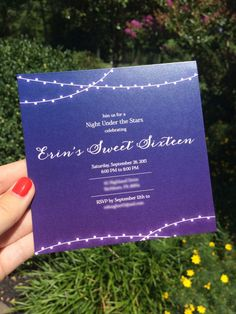 Get a customized invitation design at ErikaLynnDesign on Etsy! https://www.etsy.com/listing/242272579/a-night-under-the-stars-invitation?ref=shop_home_active_2