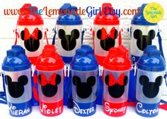 Lot of 10 BPA Free Personalized DISNEY Mickey Mouse Minnie Mouse Sippy Cup Water Bottle  by TheLemonadeGirl, $75.00