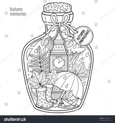 halloween coloring pages Coloring book for adults. A glass vessel with autumn memories of dreams about a trip to London. A bottle with rain, boots, leaves, a cup of tea, big be Halloween Coloring Pages, Adult Coloring Book Pages, Cute Coloring Pages, Doodle Coloring, Printable Coloring Pages, Coloring Sheets, Free Coloring, Coloring Books, Coloring For Adults