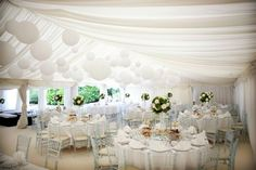 <3 Wedding Inspiration [Provide intimacy in a large room with large giant white balloons.]