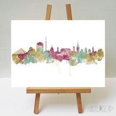 Watercolour Art Print Dublin Skyline 03 by FireflyDesignsArt on Etsy Watercolour Art, Ink Painting, Dublin Skyline, Dublin Castle, Banks Building, Ikea Frames, Mold Making, Custom Homes, Tapestry