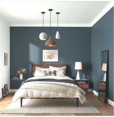 Maybe I'll paint the other wall blue in my room too - Schlafzimmer Dunkelblau - . Maybe I'll paint the other wall blue in my room too - Schlafzimmer Dunkelblau - Dream Bedroom, Home Decor Bedroom, Bedroom Ideas, Bedroom Furniture, Classic Bedroom Decor, Furniture Ideas, Diy Bedroom, Library Bedroom, Bedroom Rugs