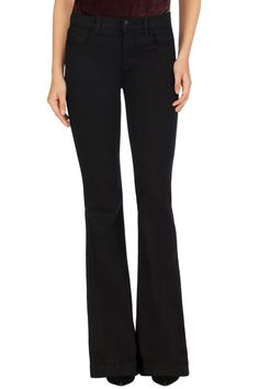 J Brand 23021 Maria High-Rise Flare Jeans in Seriously Black, Size 25