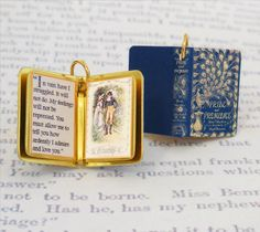 Miniature Book Charm Quote Pendant - Pride and Prejudice by Jane Austen - for charm bracelet or necklace. Custom available! by VintageCharmedBooks on Etsy https://www.etsy.com/listing/213598360/miniature-book-charm-quote-pendant-pride