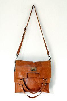 MI-VIDA. Fold over leather bag / cross body bag.
