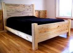 Beetle Kill Pine Queen Bed Source by inmyshopoutback Pine Bed Frame, Wooden Bed Frames, Bed Frame And Headboard, Diy Queen Bed Frame, Bed Frame Design, Bed Design, Pine Beds, Timber Beds, Murphy Bed Plans