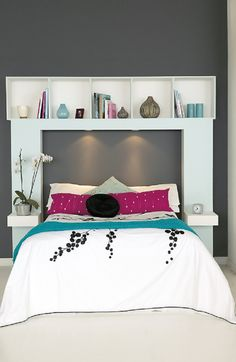 Inspirational and Cheap DIY Headboard Ideas. Maybe a little shorter so I can reach the shelve over head.