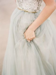 grey tulle wedding dress with lace bodice