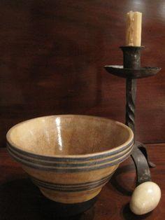 Antique 1800's Stoneware Bowl w Blue Slip Bands