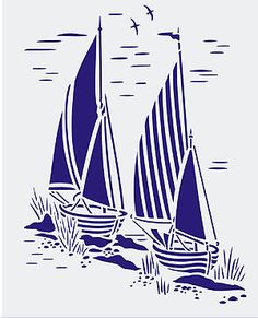 Toile Sail Boats Stencil Coastal Toile de Jouy Stencils - The Vehicles Sailboat Craft, Gravure Illustration, Boat Crafts, Classic Blues, Boat Art, Boat Design, Silhouette Art, Linocut Prints, Paper Quilling