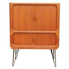 MCM Teak Cabinet With Tambour Doors by Dyrlund