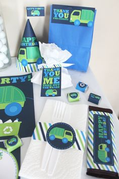Garbage and Recycle Truck Birthday DIY Printable Party Kit. 10.00, via Etsy.