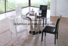 Stainless Steel Base/Round Dining Table with Turnplate/Glass Top Table (T20)