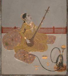 Lady on a palace terrace plays a tambura. Murshidabad style, circa 1760