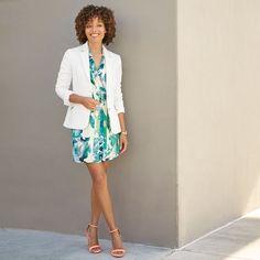 Stitch Fix Spring & Summer fashion. Spring green & white floral dress with white blazer, pink heels. #stitchfix #sponsored