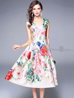 Buy Chic V-Neck Sleeveless Floral Print A-Line Dress at DressSure.com Color:Multi; Size:S, M, L, XL; Material:Polyester; Style:Casual; Silhouette:A-Line Dresses; Dresses Length:Mid-Calf; Sleeve Length:Sleeveless; Sleeve Style:Regular; Neckline:V-Neck; Waistline:Empire; Decoration:Draped; Pattern Type:Print; Price: US$ 48.99