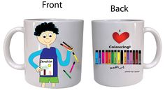 "This is a custom designed mug for a boy""Ibrahim"" who likes Art and Coloring ."