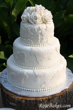 Vintage Antique Lace Wedding Cake with Sugar Roses on Stump