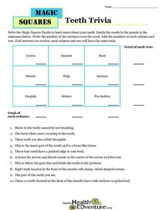 This fun magic squares game uses math and science concepts to teach students about the basic parts of their teeth. Students use reading skills to match definitions and terms by writing sentence numbers above each word in a table.  They use math skills to total columns and rows.