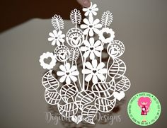 Flower Bouquet Paper Cut SVG / DXF Cutting Files For Cricut / Silhouette & PDF Printable For Hand Cutting, Download, Commercial Use by DigitalGems on Etsy