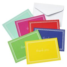 Multi- Color Thank You Cards with Solid White Double Line -- bright colors for baby shower -- 50 for $9.99