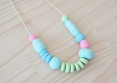 Handmade Polymer Clay Bead Fancy Necklace Sugar by enaandalbert