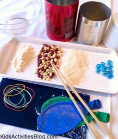 How is sound made? Do this experiment  with your kids. It was so much fun! It took only minutes to put together, we made lots of noise, quite a bit of mess, and we learned quite a lot as well! These are the supplies we used.