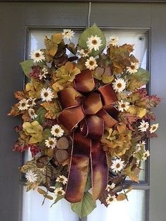Summer or Fall Floral Arrangement Door Swag Wreath Green and Brown | eBay