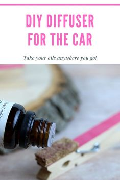 How to make an essential oil diffuser for your car.  This easy tutorial lets you use aromatherapy in the car for trips.  Use your favorite essential oils or essential oil blends.  DIY car essential oil diffuser. This is an easy tutorial with clothespins and cork to make your own diffuser for the car.  #essentialoildiffuser #diffuser #aromatherapy #diy #diydiffuser #essentialoils