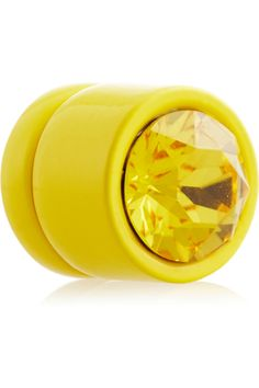 Givenchy Yellow lacquered metal and crystal, magnetic back earrings