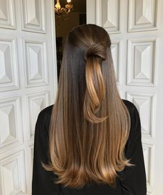 Here's Every Last Bit of Balayage Blonde Hair Color Inspiration You Need. balayage is a freehand painting technique, usually focusing on the top layer of hair, resulting in a more natural and dimensional approach to highlighting. Balayage Brunette, Brunette Hair, Balayage Hair, Curly Hair Styles, Styles For Long Hair, Pretty Hairstyles, Wedding Hairstyles, Latest Hairstyles, Romantic Hairstyles