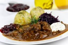 Picture of Gourmet Venison goulash with potato dumplings and garnish stock photo, images and stock photography. Spanish Cuisine, South African Recipes, Muscle Food, Goulash, Fat Burning Foods, Food Design, Dumplings, Quick Easy Meals, The Best