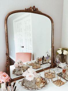All we see is Friday ✨ Photo via @wanderxluxe (link in profile to shop the Gleaming Primrose Mirror) Dream Rooms, Dream Bedroom, Master Bedroom, Blush Bedroom, Pretty Bedroom, Vanity Decor, Gold Vanity Mirror, Vanity Tray, Mirror Mirror