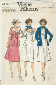An original ca. 1970's Vogue pattern 9478.  Half-Size Dress and Jacket - Semi-fitted, slightly flared dress (without side seams), three inches below mid-knee length, has princess seaming and back zipper closing.  Self or contrast bodice bands and wide shoulder straps.  Semi-fitted, unlined jacket (fronts do not meet) has self or contrast pointed collar with peaked lapels and patch pockets.  Above-elbow or full-length sleeves have self or contrast band cuffs.  Topstitching.