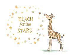 Children's Art Reach for the Stars Giraffe by trafalgarssquare